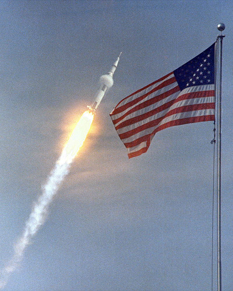 apollo 11 launch American Flag in Background