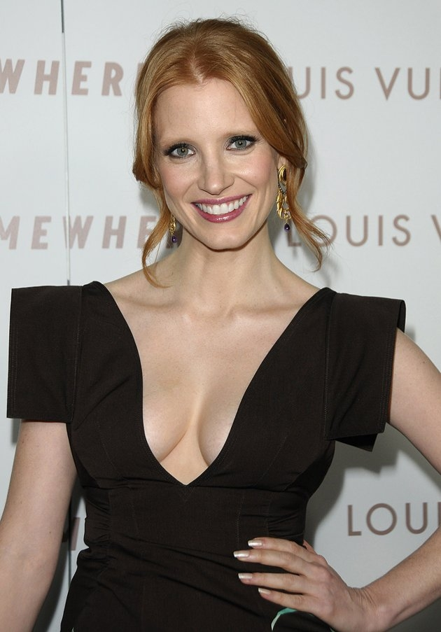 jessica-chastain-brown-dress Jessica Chastain