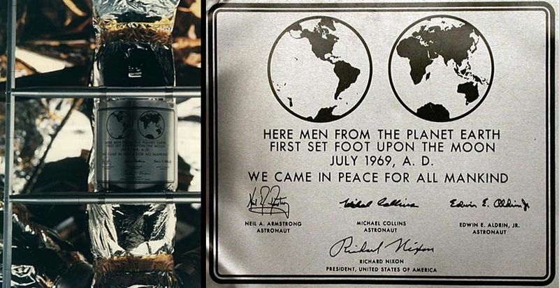Plaque was left on the Moon