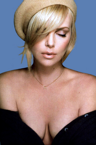 Charlize Theron In Black Hot Sweater IPhone Wallpaper Download
