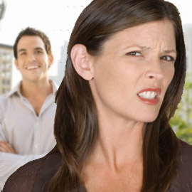 woman disgusted with man
