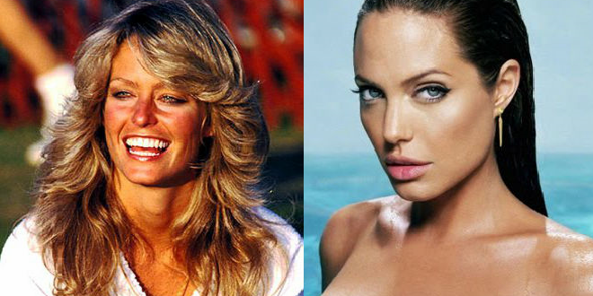 Battle of the Babes from Different Eras: Farrah Fawcett vs. Angelina Jolie
