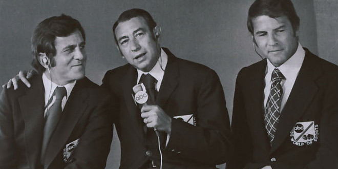 The Daily Retro Pic: Don Meredith, Howard Cosell and Frank Gifford in the MNF Booth